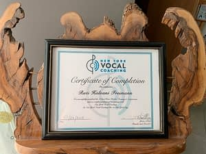 Teaching certificate from New York Vocal Coaching and Justin Stoney